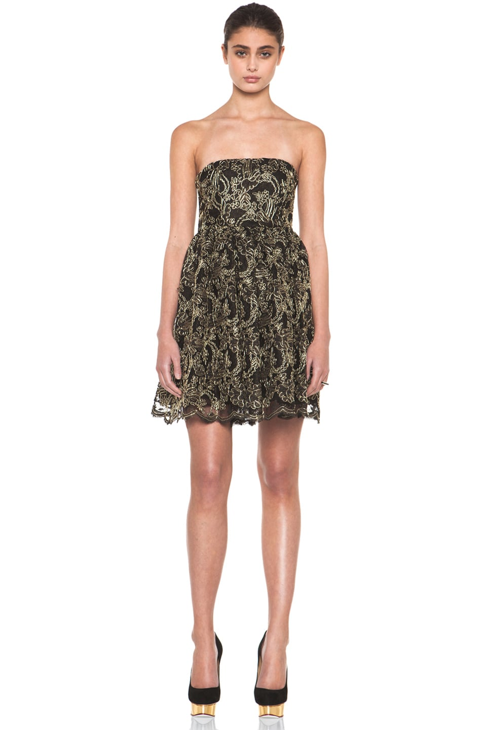Image 1 of Alice + Olivia Caryn Bustier Flare Dress in Black & Gold