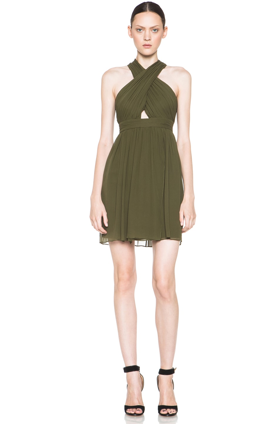 Image 1 of Alice + Olivia Caldwell Silk Tulip Skirt Dress in Army