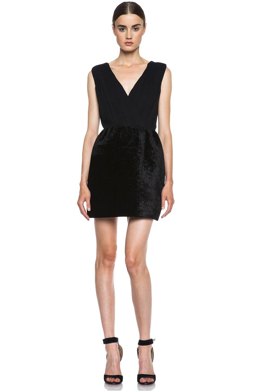 Image 1 of Alice + Olivia Riva Pouf Silk-Blend Dress in Black