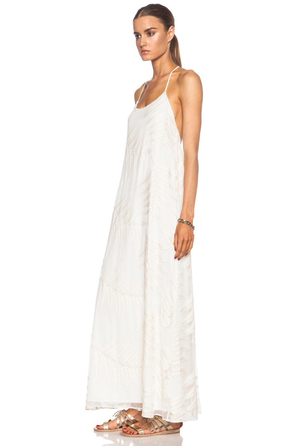 Image 2 of Alice + Olivia Kelly Silk Maxi in Off White