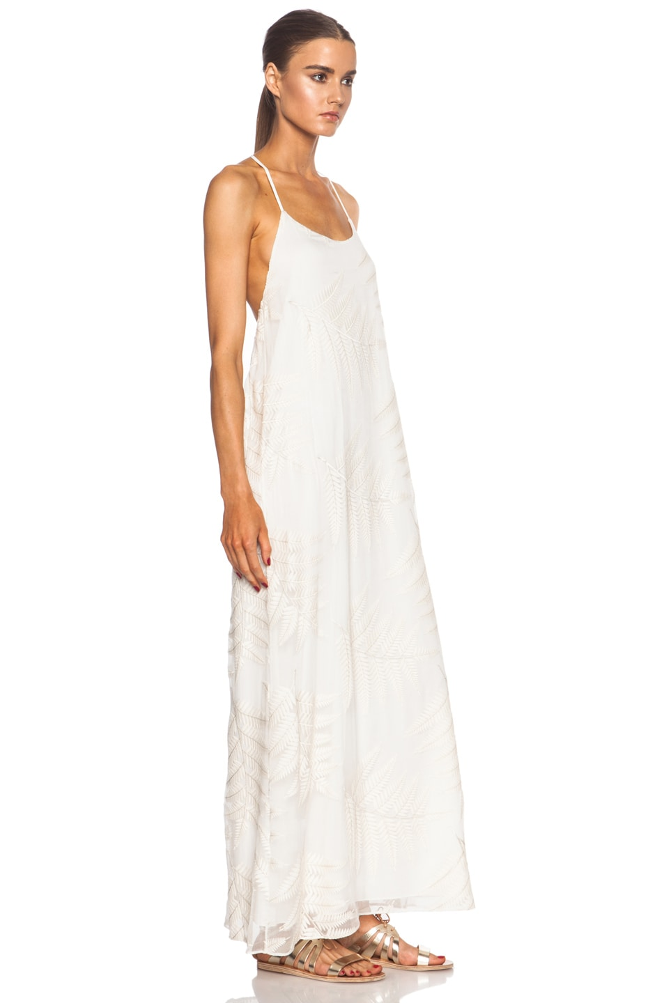Image 3 of Alice + Olivia Kelly Silk Maxi in Off White