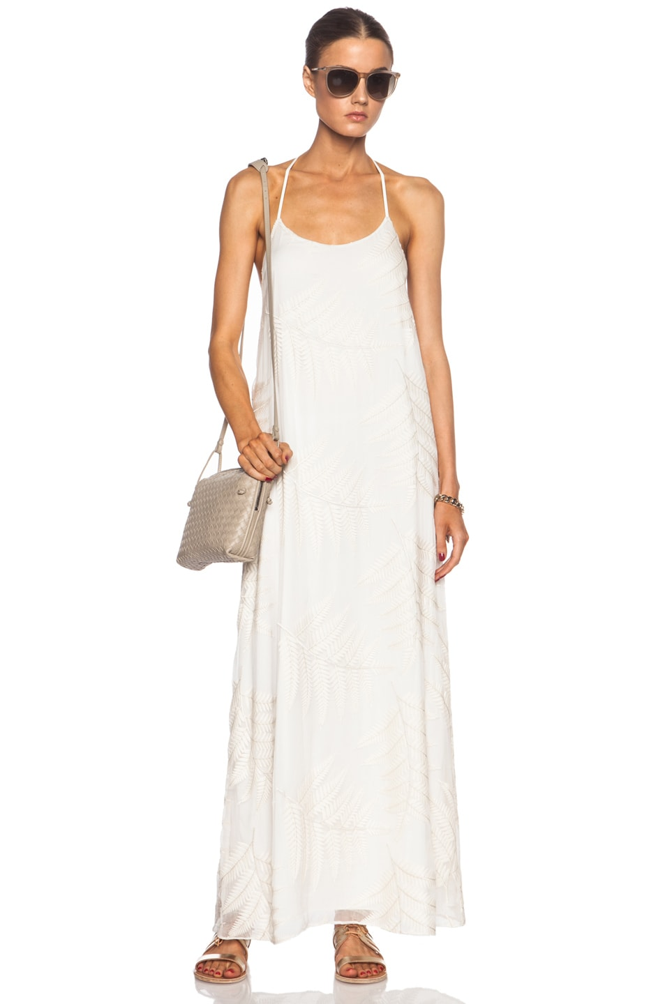 Image 5 of Alice + Olivia Kelly Silk Maxi in Off White
