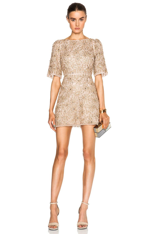 d3e6ef3c60 Image 1 of Alice + Olivia Drina Embellished Dress in Nude & Rose Gold
