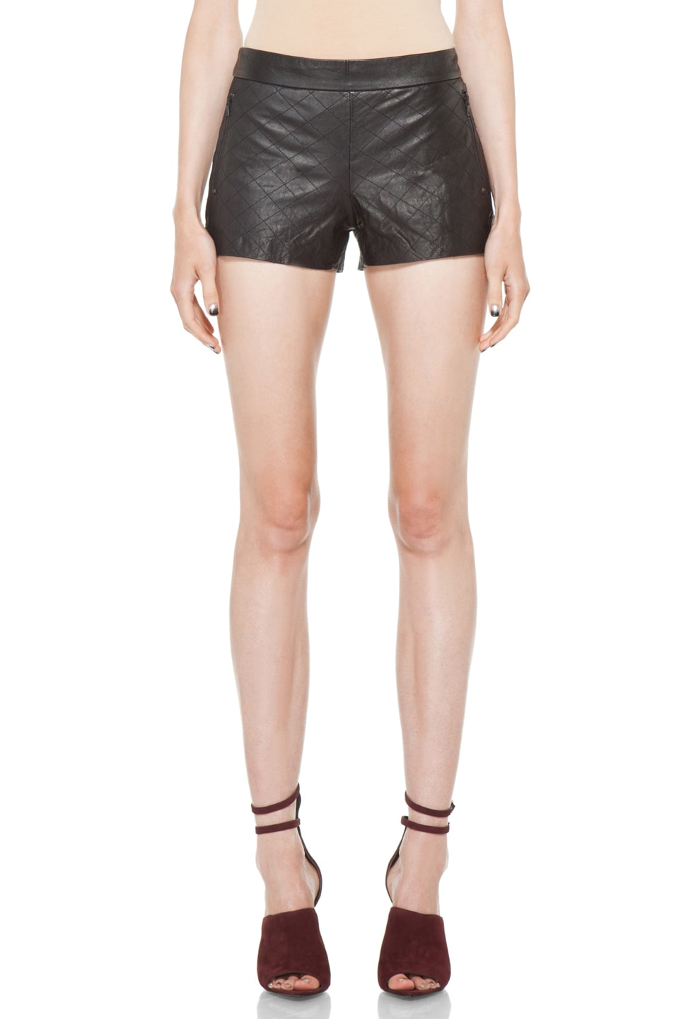 Image 1 of Alice + Olivia Leather Quilted Short in Black