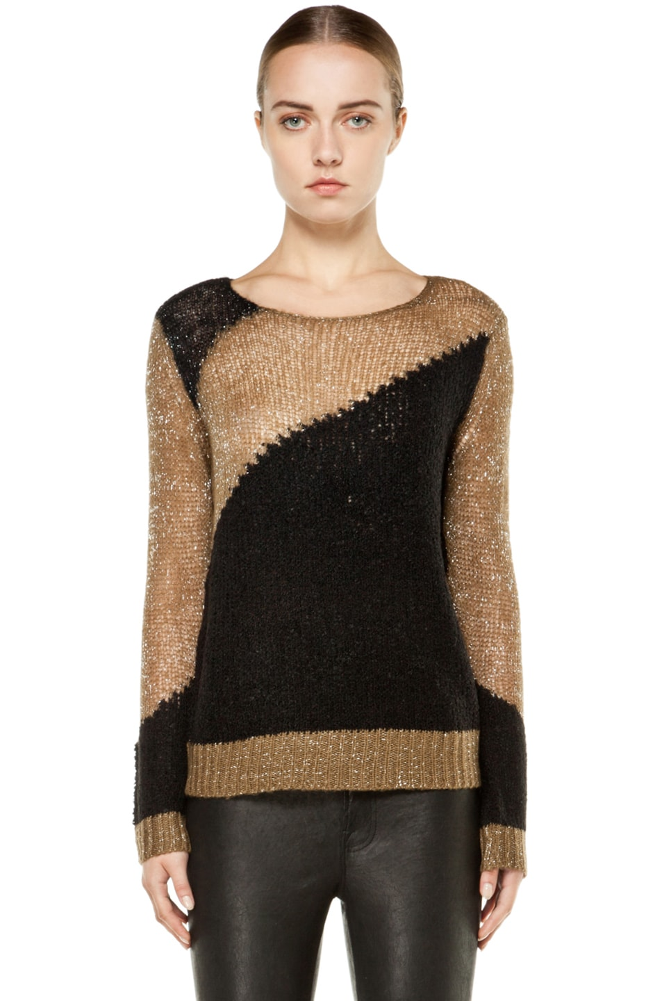 7d1ad4be7ff1c2 Image 1 of Alice + Olivia Opal Novelty Stitch Crewneck Sweater in Beige &  Black