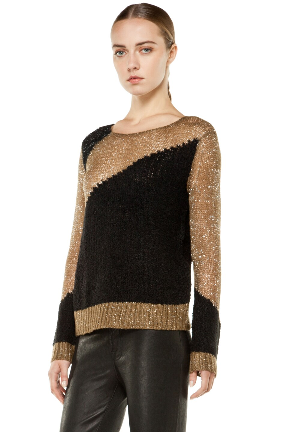 0d091fa0df29ed Image 2 of Alice + Olivia Opal Novelty Stitch Crewneck Sweater in Beige &  Black