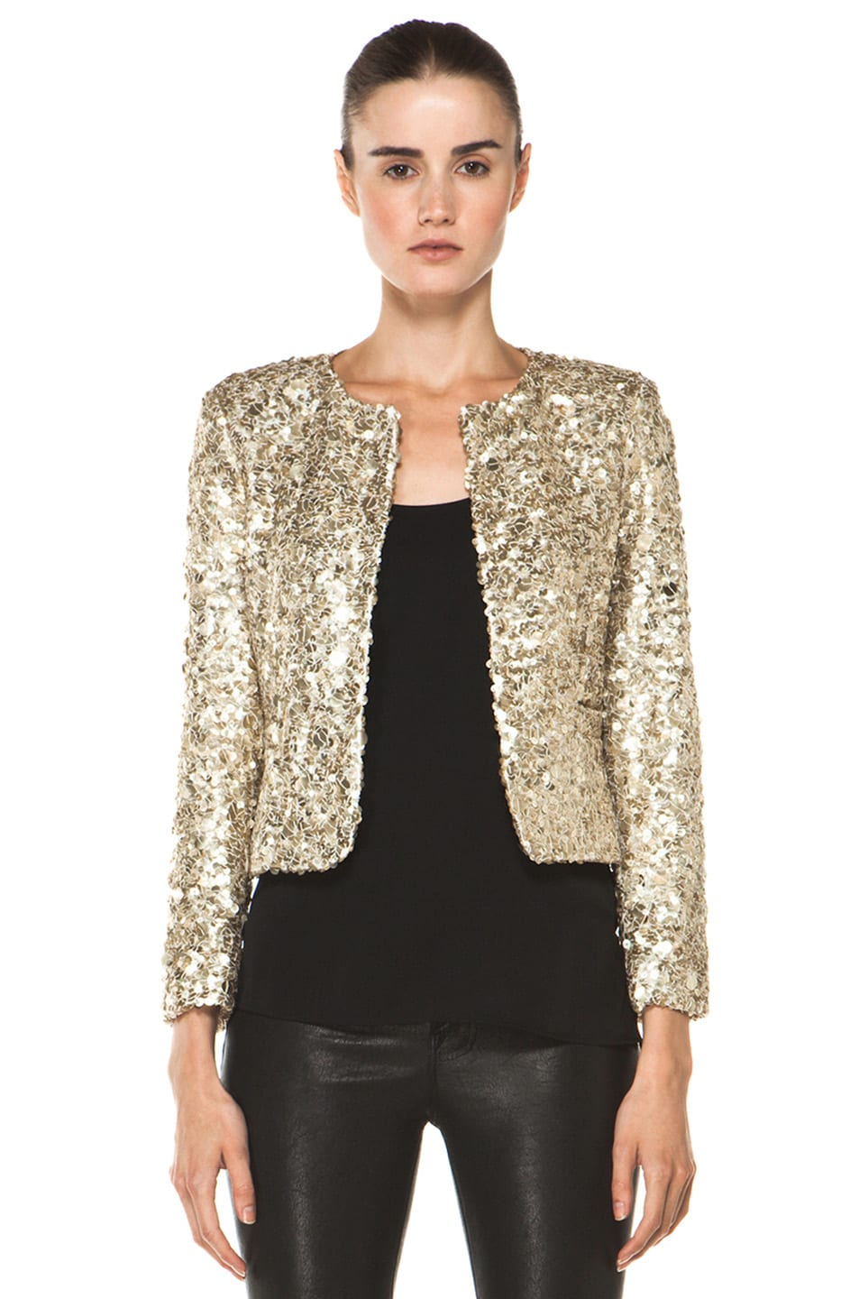 Image 1 of Alice + Olivia Brianna Open Front Sequin Jacket in Gold