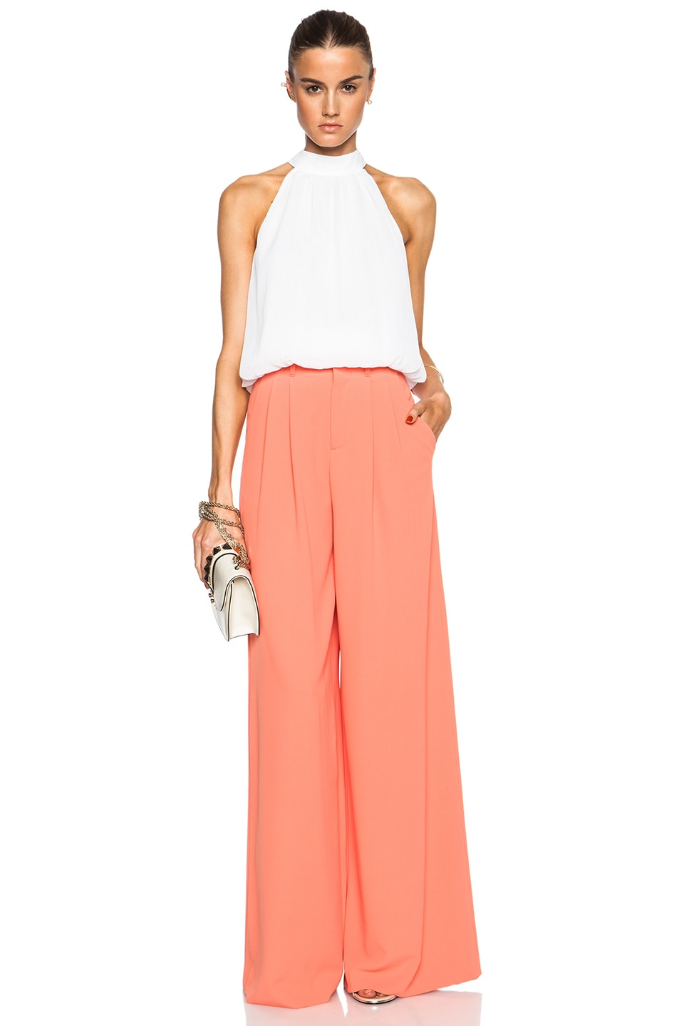 Alice   Olivia Straight Wide Leg Trousers in Coral | FWRD
