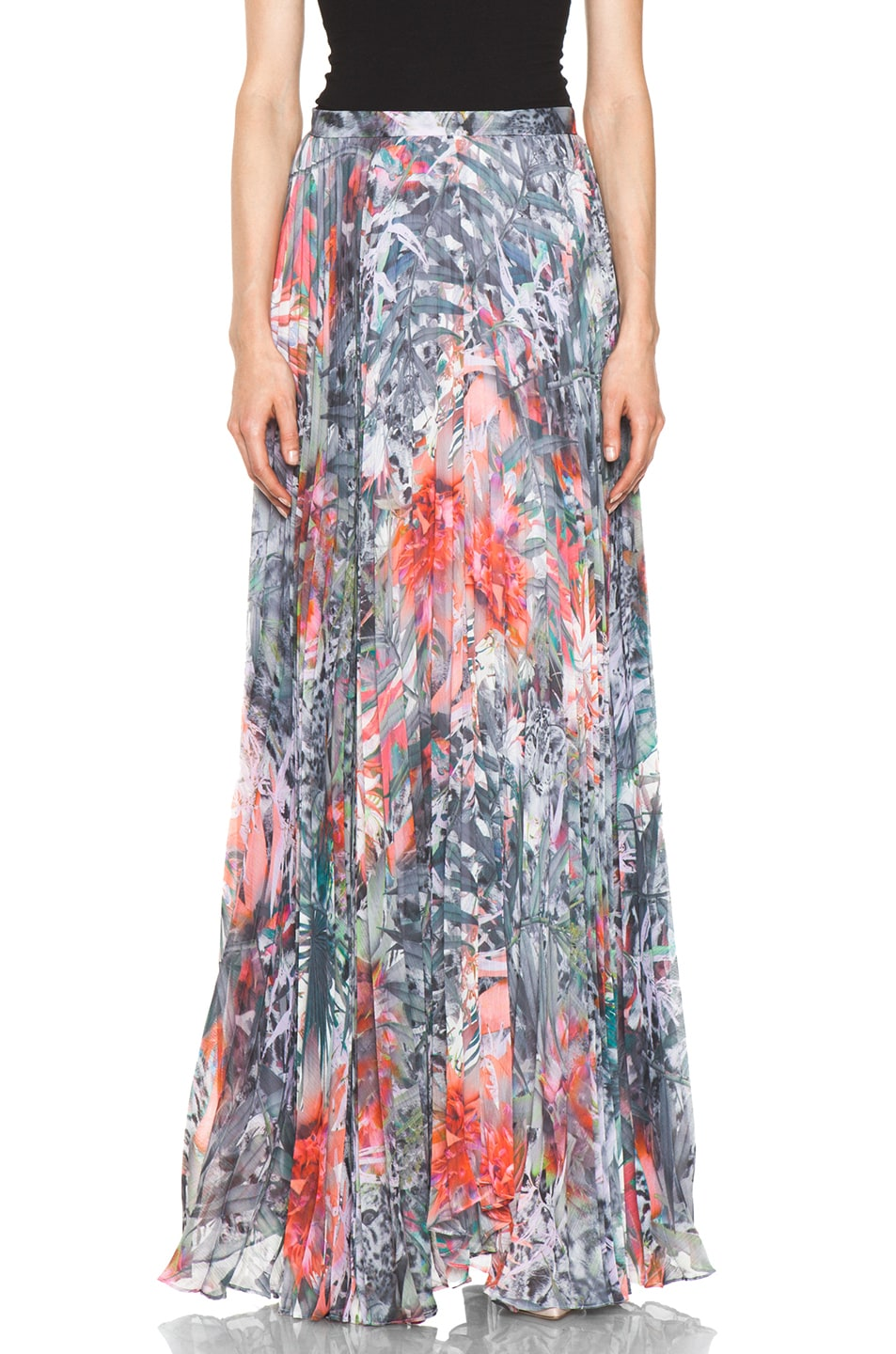 Image 1 of Alice + Olivia Shannon Pleated Maxi Skirt in Snow Leopard