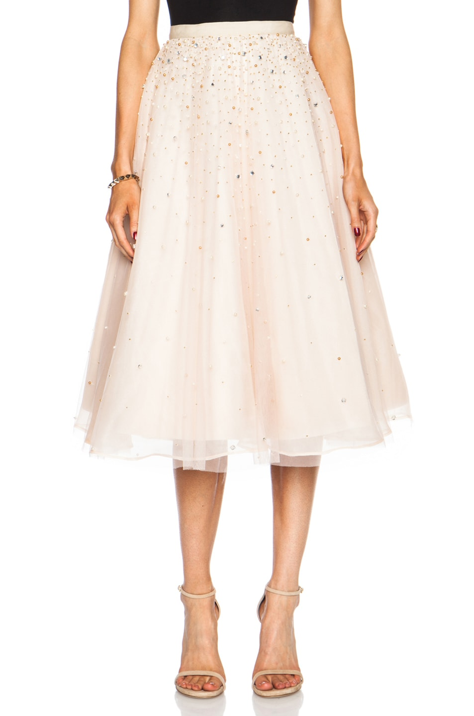 Image 1 of Alice + Olivia Rina Pouf Nylon Skirt in Nude Lip & Gold