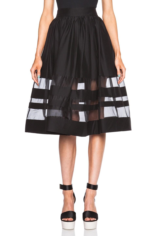 Image 1 of Alice + Olivia Misty Mid Length Skirt in Black