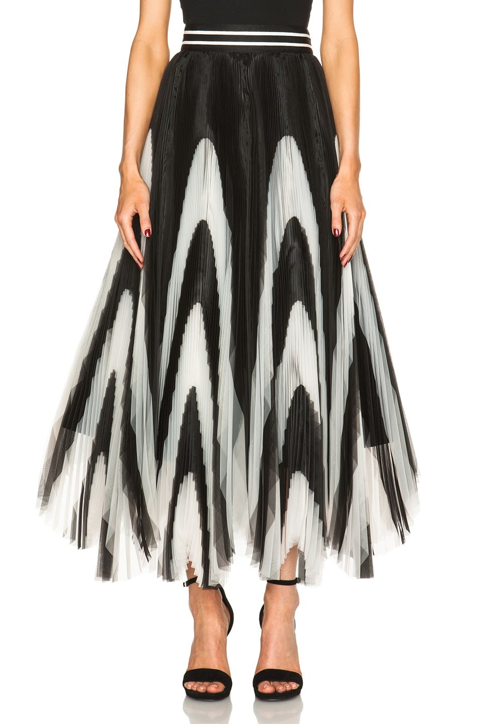 Black And White Pleated Skirt - Skirts
