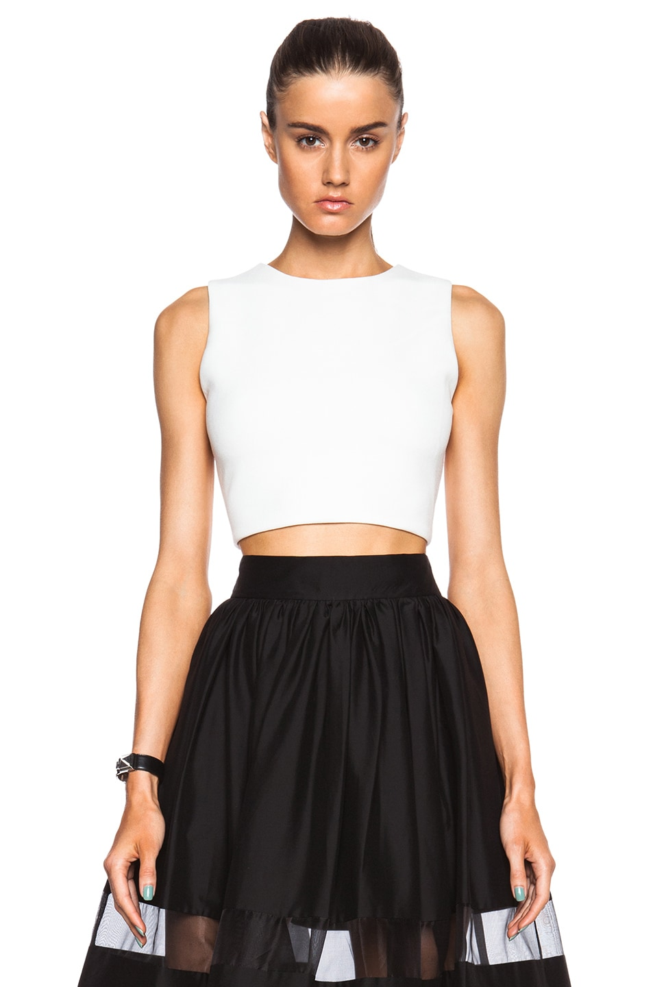 72c582e150ee46 Image 1 of Alice + Olivia Arie Twist Back Crop Top in Off White