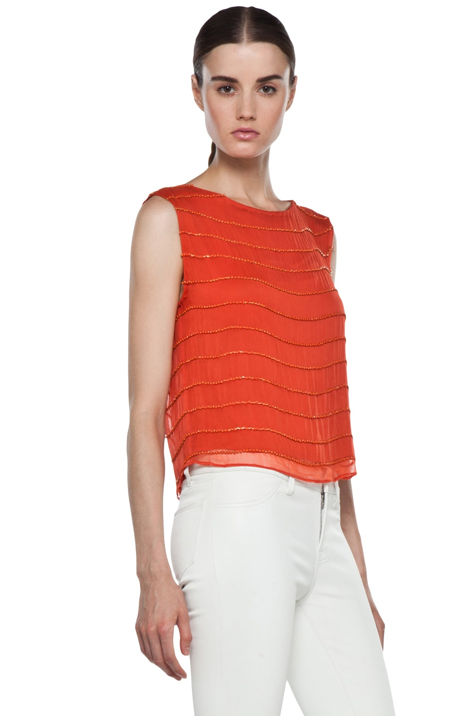 Image 3 of Alice + Olivia Mandy Chain Embellished Top in Orange