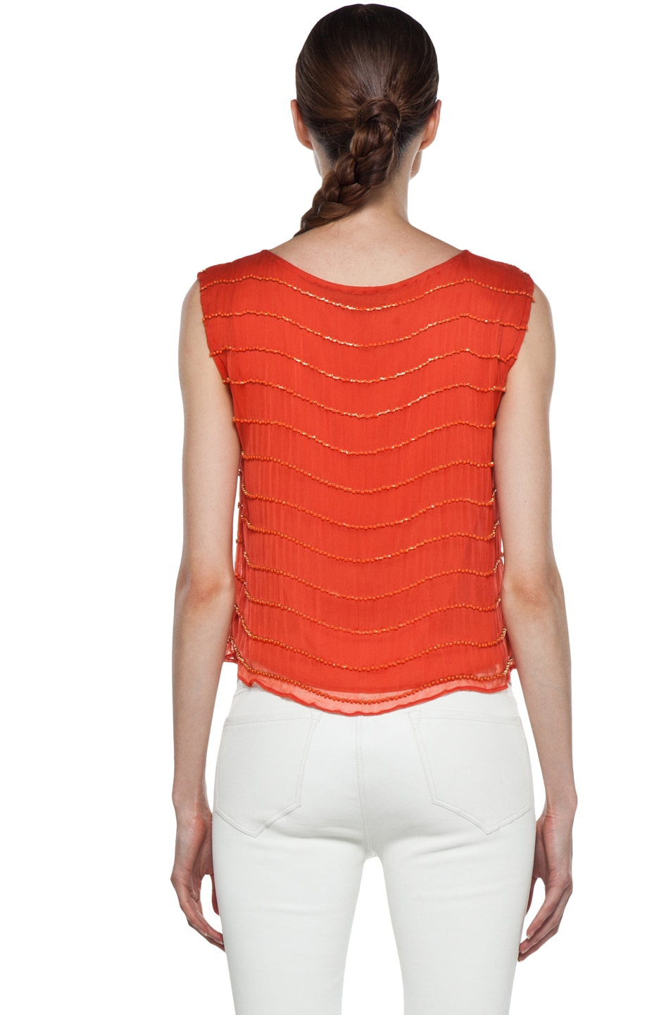 Image 4 of Alice + Olivia Mandy Chain Embellished Top in Orange