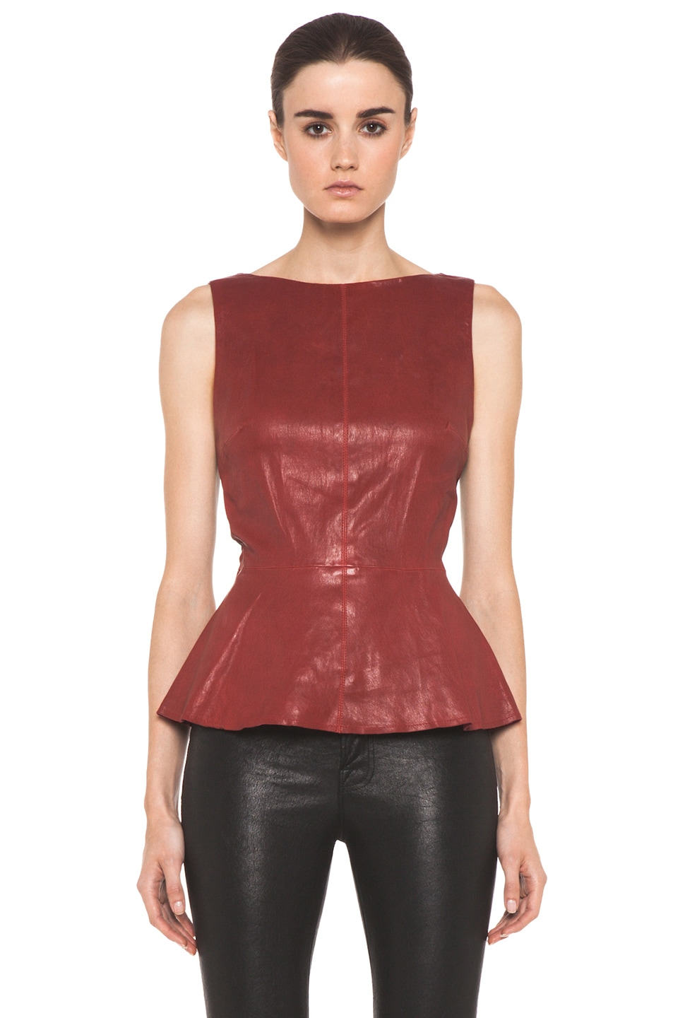 Image 1 of Alice + Olivia Martin Peplum Top in Red