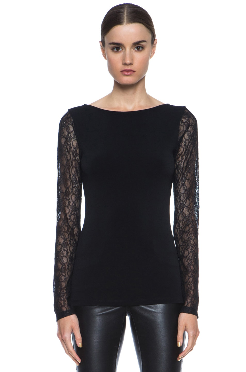 Image 1 of Alice + Olivia Lenni Poly-Blend & Lace Top in Black
