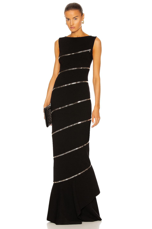 Image 1 of ALAÏA Edition Zip Asymmetric Body Sculpting Dress in Noir