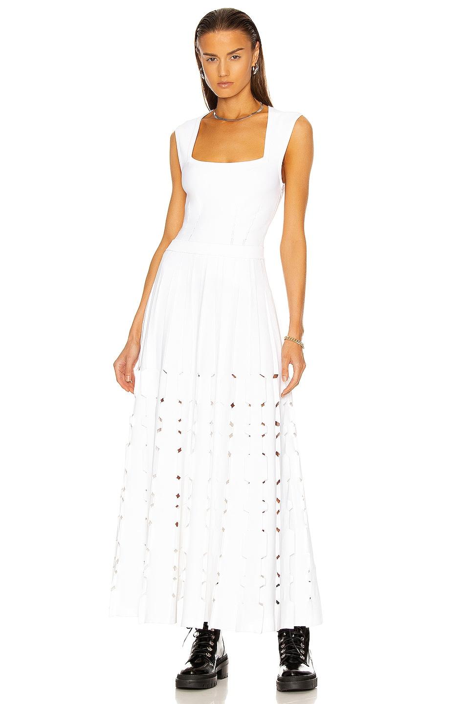 Image 1 of ALAÏA Sleeveless Geometric Neck Long Dress in Blanc