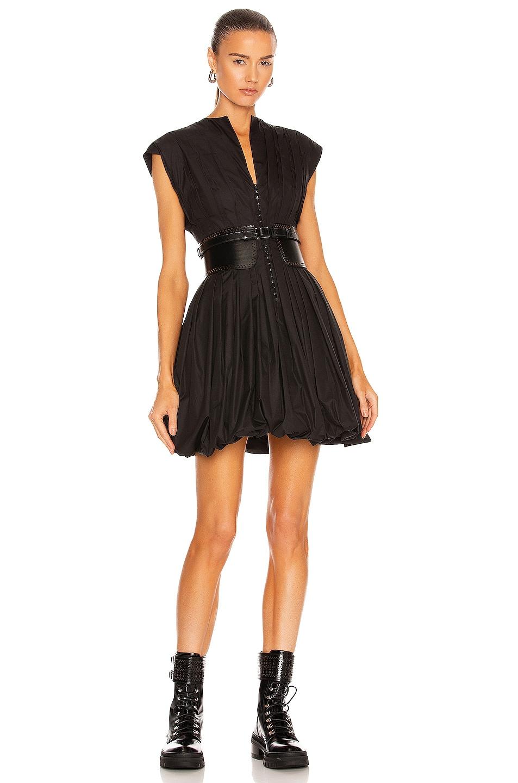 Image 1 of ALAÏA Sleeveless Short Poplin Balloon Dress in Noir