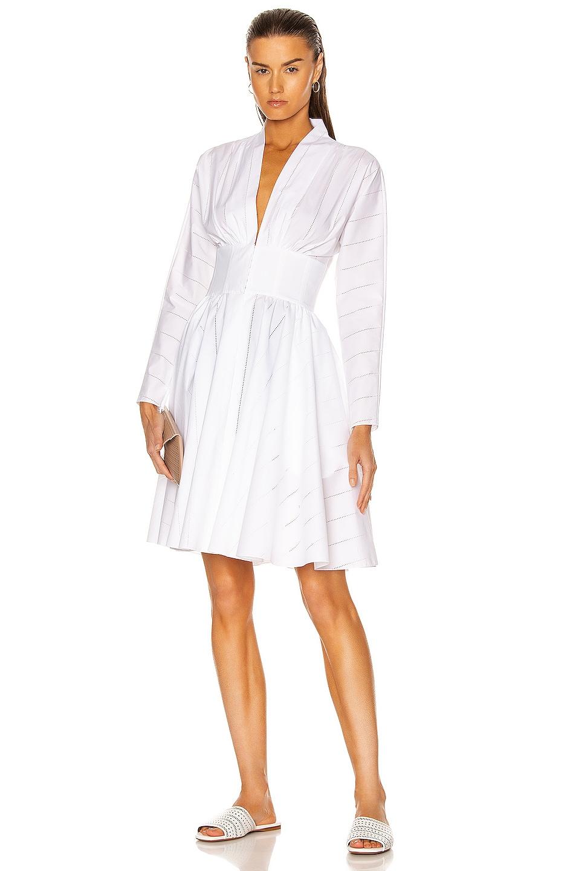 Image 1 of ALAÏA Cotton Poplin Perforated Dress in Blanc