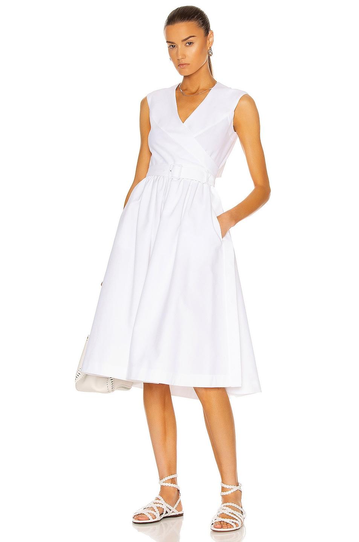 Image 1 of ALAÏA Longue Pique De Cotton Dress in Blanc