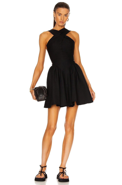 Image 1 of ALAÏA Courte Pique De Cotton Dress in Noir