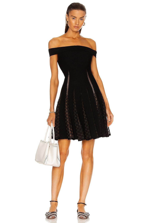 Image 1 of ALAÏA Dentelle Fluide Dress in Noir