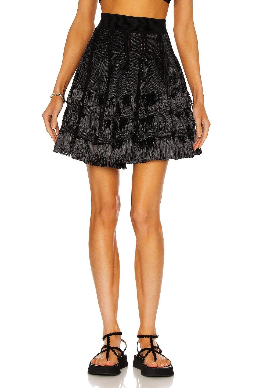 Image 1 of ALAÏA Courte Raphia Franges Skirt in Noir