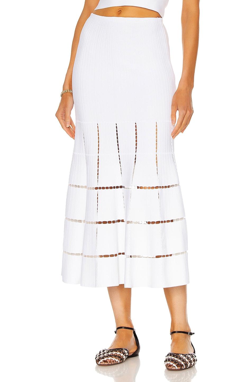 Image 1 of ALAÏA Longue Geometrique Skirt in Blanc