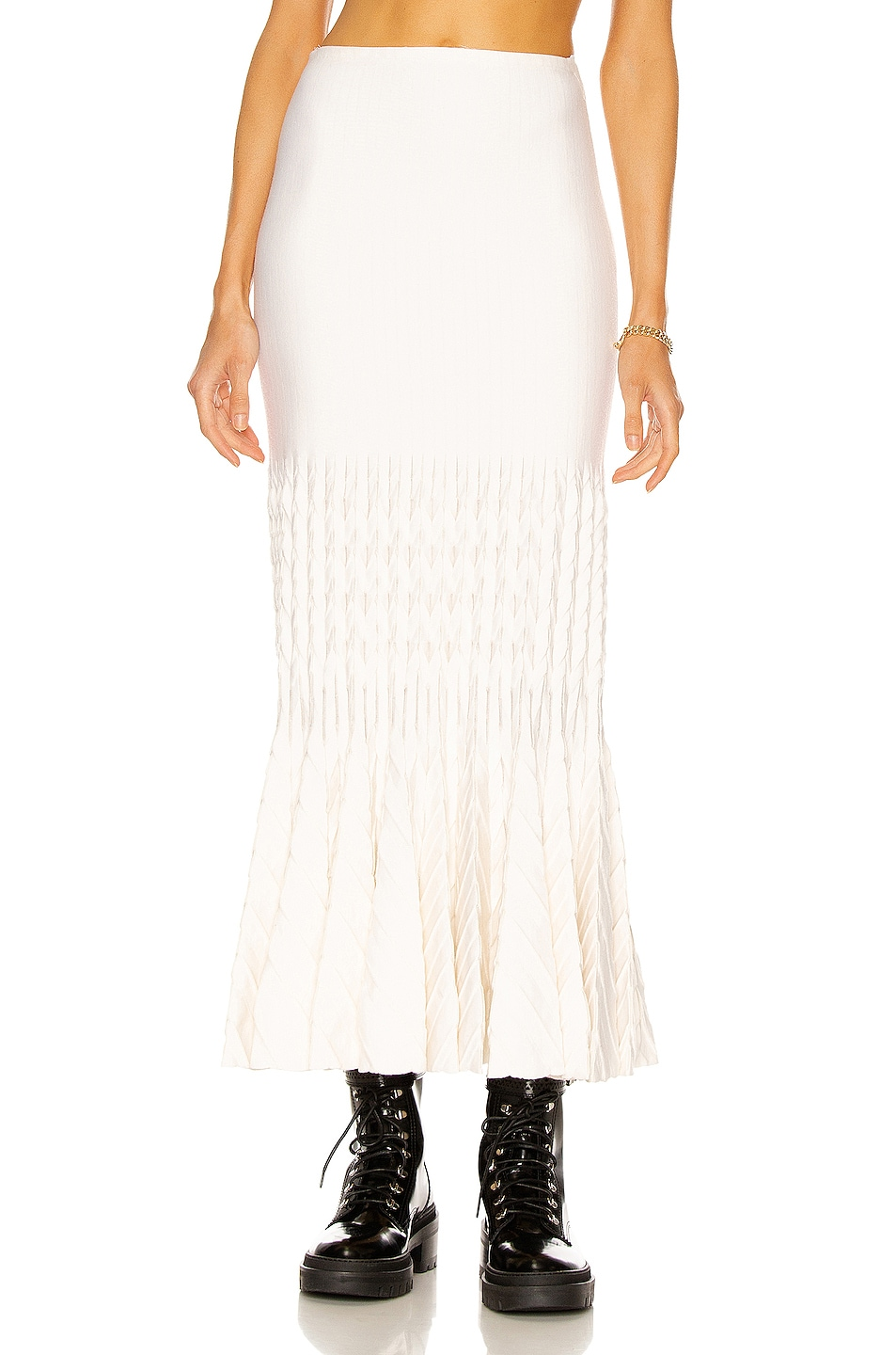 Image 1 of ALAÏA Fit and Flare Maxi Skirt in Ivoire