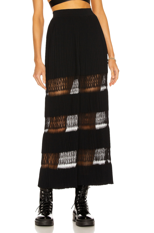Image 1 of ALAÏA Long Voluminous Pleat and Lace Skirt in Noir