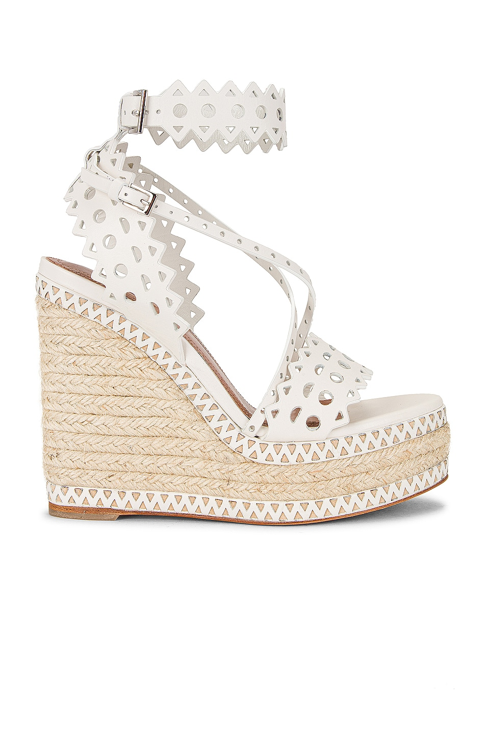 Image 1 of ALAÏA Leather Laser Cut Espadrille Wedges in Blanc