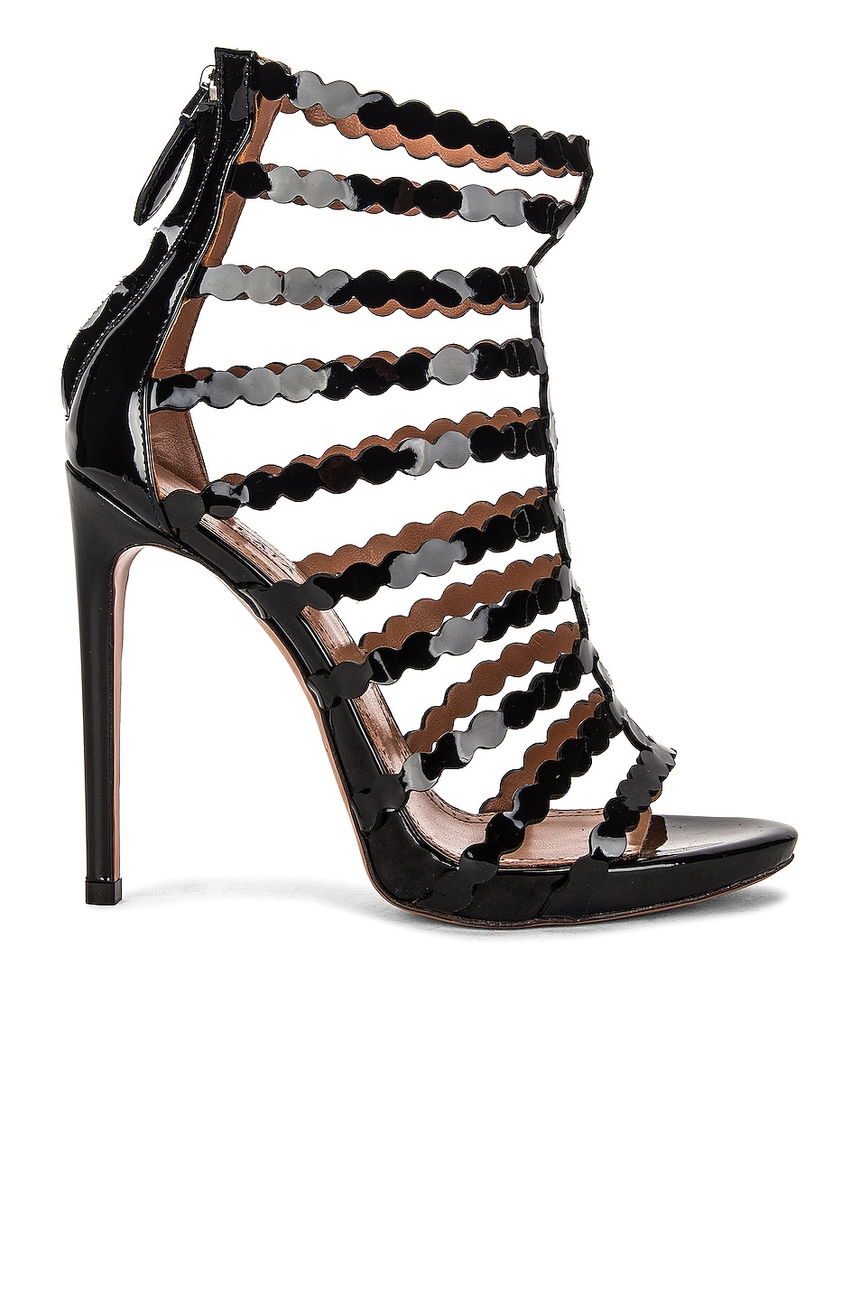 Image 1 of ALAÏA Cage Patent Leather Sandals in Noir