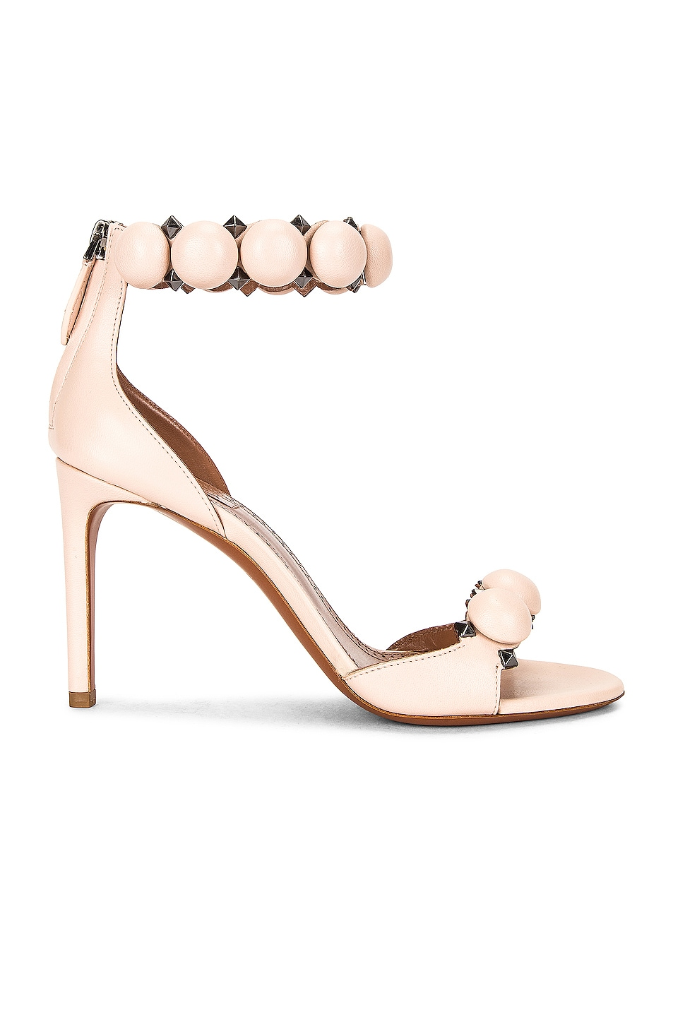 Image 1 of ALAÏA Leather Bombe Sandals in Galet