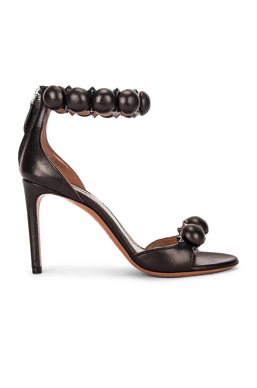Image 1 of ALAÏA Leather Bombe Sandals in Noir
