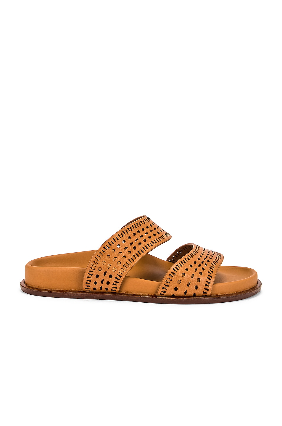 Image 1 of ALAÏA Vienne Leather Slides in Tan Clair