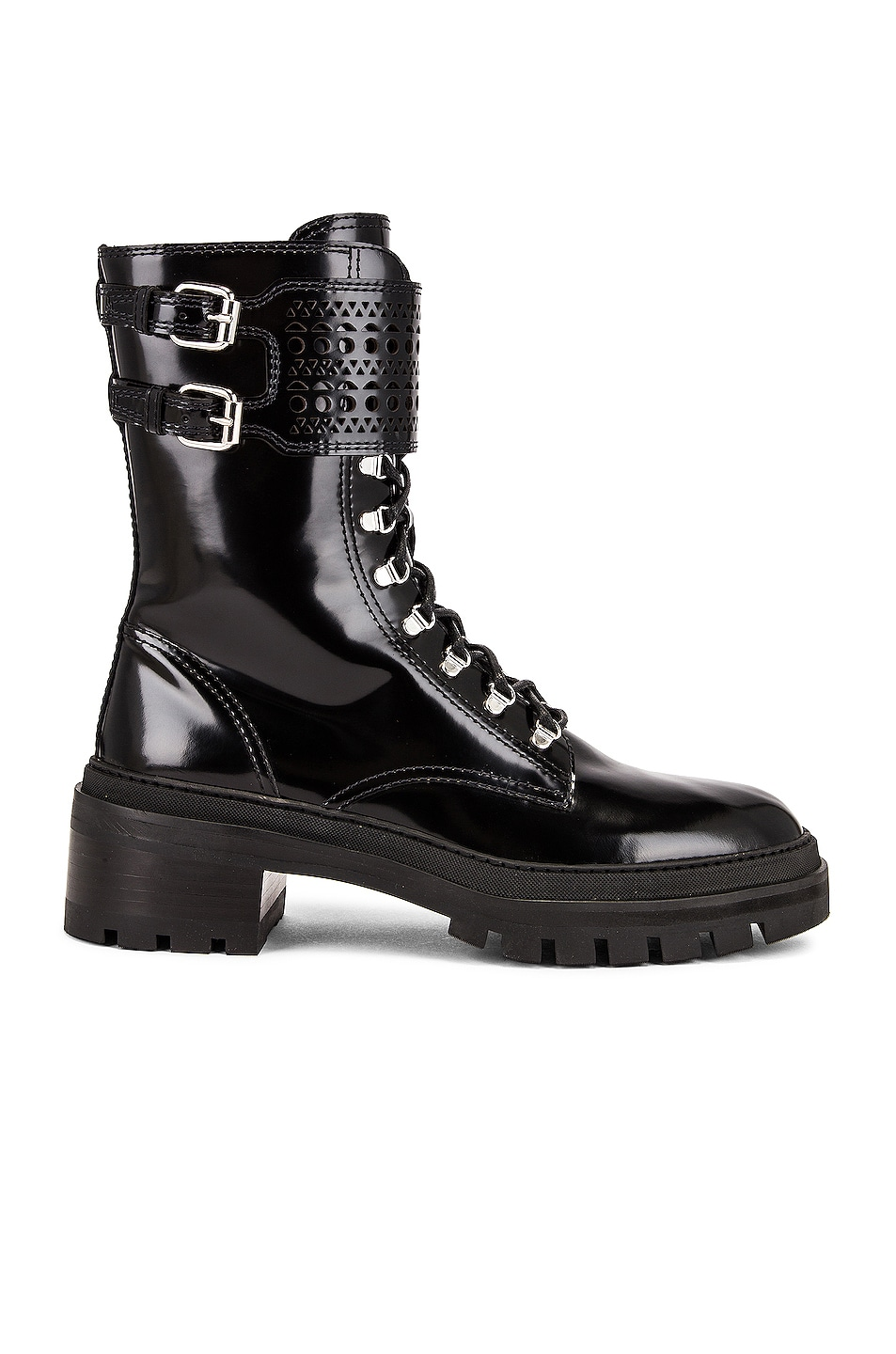 Image 1 of ALAÏA Buckle Military Boots in Noir