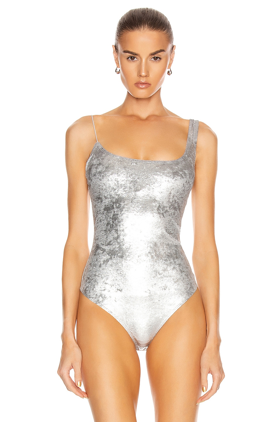 Image 2 of ALIX NYC Gracie Ultra Suede Bodysuit in Platinum