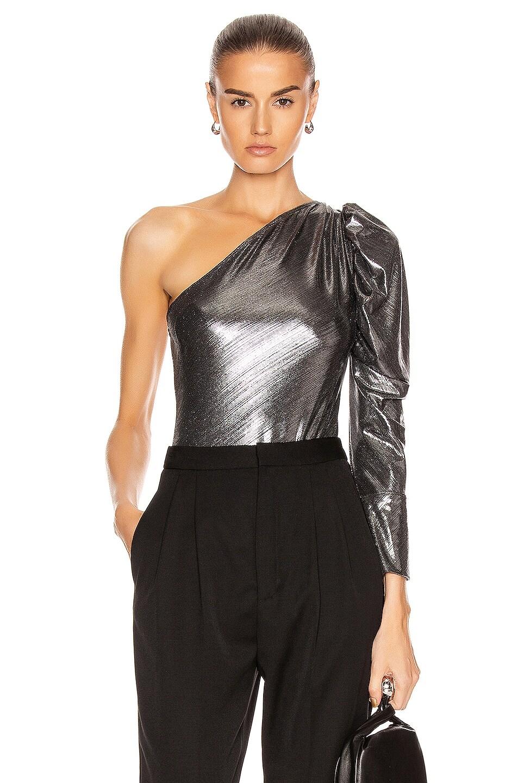 Image 1 of ALIX NYC Dakota Lame Bodysuit in Gunmetal