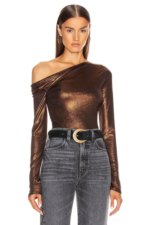 Image 1 of ALIX NYC Willett Metallic Bodysuit in Bronze