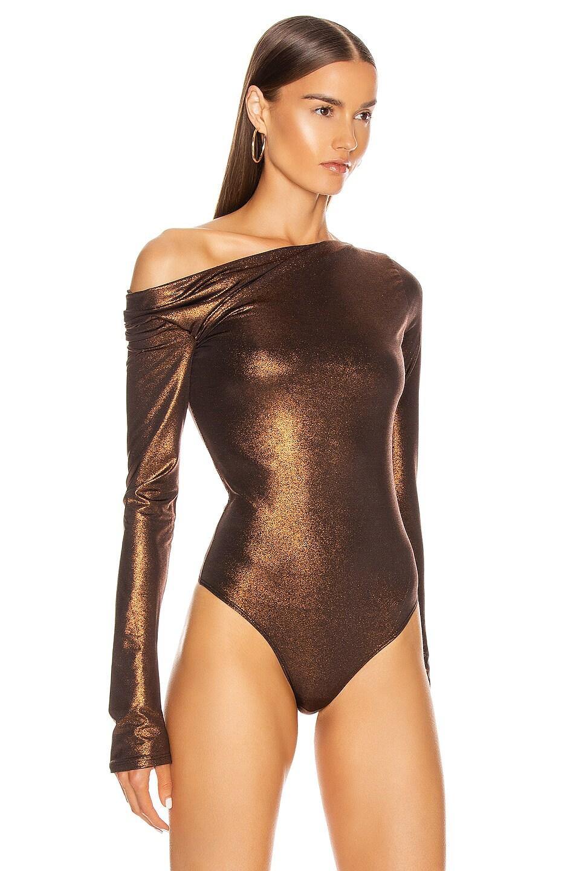 Image 3 of ALIX NYC Willett Metallic Bodysuit in Bronze