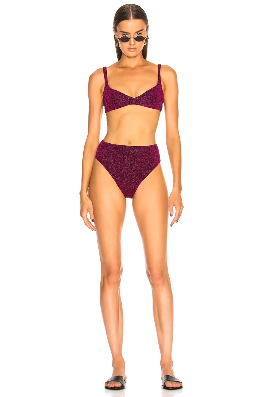 Image 4 of Alix Avalon Bikini Top in Magenta Glitter