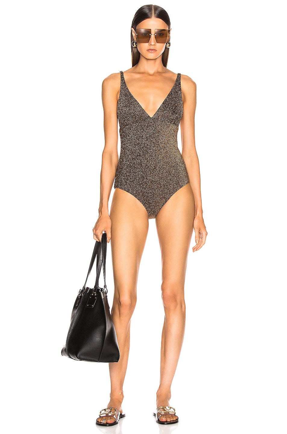 Image 1 of ALIX NYC Surfside Glitter Swimsuit in Oro Glitter