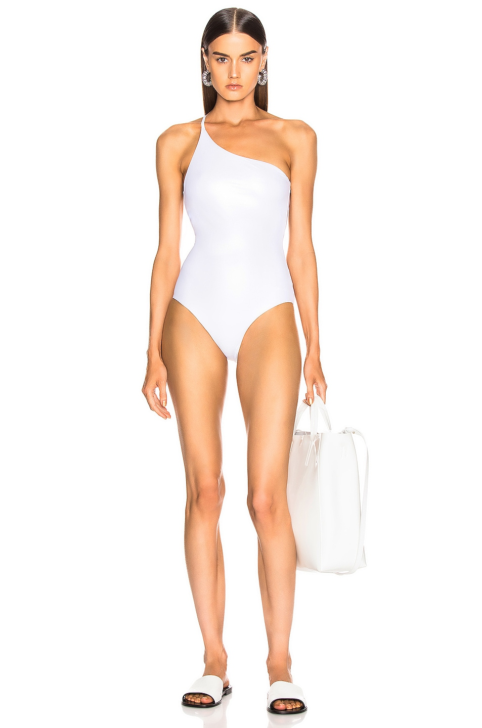 Image 1 of ALIX NYC Bonita Metallic Swimsuit in Oyster & Ivory