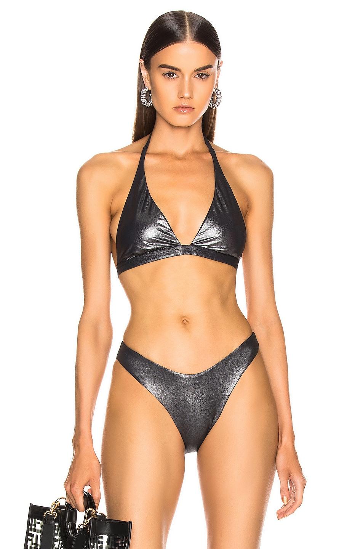 Image 1 of ALIX NYC Savory Metallic Bikini Top in Black Metallic