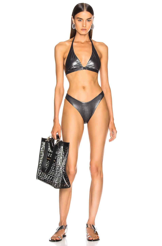 Image 4 of Alix Espanola Metallic Bikini Bottom in Black Metallic & Black
