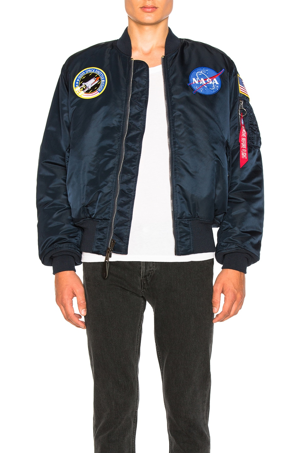 Image 1 of ALPHA INDUSTRIES Nasa MA 1 Bomber in Replica Blue