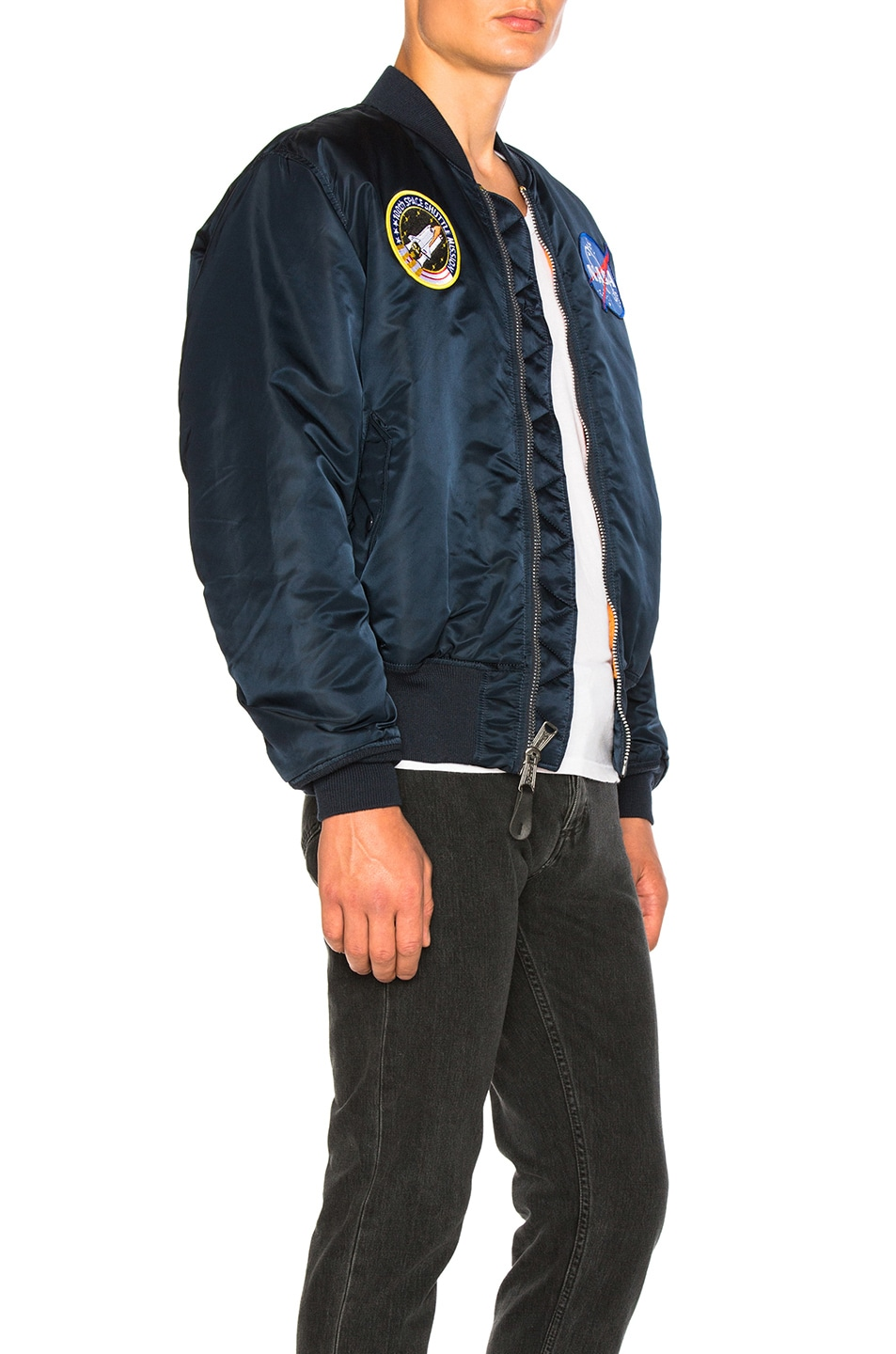 Image 3 of ALPHA INDUSTRIES Nasa MA 1 Bomber in Replica Blue