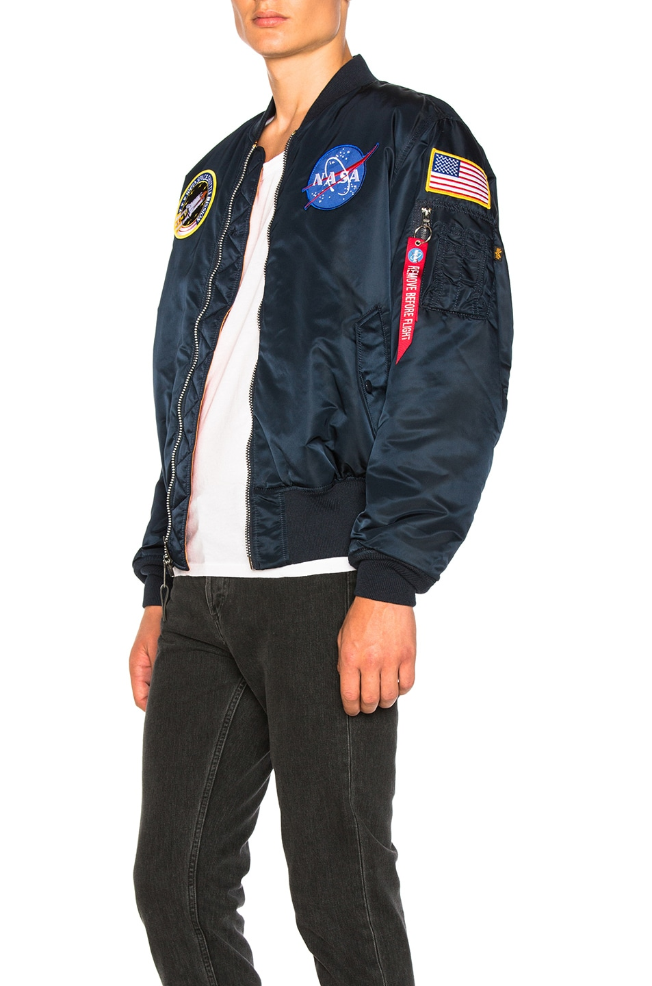 Image 4 of ALPHA INDUSTRIES Nasa MA 1 Bomber in Replica Blue